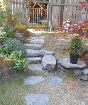 stone steps to garden gate